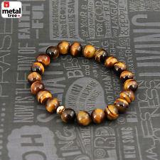 Men's Hip Hop Healing Tiger Eye Stone Gems Bead Elastic Stretch Bracelet KDB033