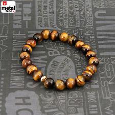 Men's Hip Hop Tiger's Eye Stone Gems Beads Elastic Stretch Wrist Bracelet KDB033