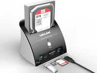 """USB 3.0 to SATA Hard Drive Docking Station for 2.5"""" & 3.5"""" HDD SSD &10TB"""