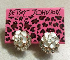 Betsy Johnson Rose Gold & White Crystal Flower Stud Earrings Brand New Nice Gift