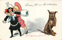R.F. Outcault art Valentine Postcard Dog with Buster Brown Hugging a Girl~116443