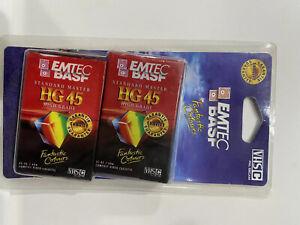 Standard Master HG 45 VHSC Tapes Sealed EMTEC BASF High Grade