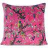"""16"""" Burgundy Red Velvet Floral Flower Bird Throw Pillow Sofa Cushion Cover Case"""