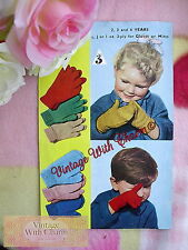Vintage Knitting Pattern Childs Cosy Gloves & Mitts 2-4 Years. Just 99p