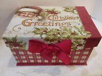 "Sherry Buck Baldwin Christmas Storage Box 8""x6""x4"" Card Holder Trinket Box EUC"