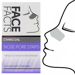 Face Facts Charcoal Deep Cleansing Nose Pore Strips Removes Blackheads