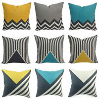 18'' Cotton Linen Cushion Cover Sofa Bed Home Decor Throw Geometric Pillow Case