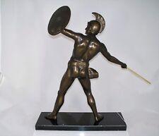 Metall Figur bronziert ANTIKER KRIEGER / SPEERWERFER MIT SCHILD H 39,5 cm neu