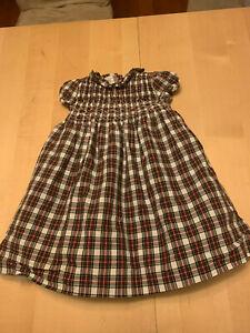 Janie And Jack smocked Plaid Dress, Red, 4T, Christmas, notes, Short sleeve,sash