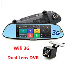 3G 1080P Car Dual Lens Rearview Mirror Video Recorder WIFI GPS Dash Cam Recorder