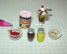 Miniature Strawberry/Lemon Ice Cream Sundae w/Ingredients: DOLLHOUSE 1:12