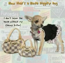 Haute Diggety Dog Chewy Vuitton Plush Purses~SET OF 2~ Dog Toys For Any Size Dog