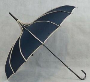 SOAKE Ladies Navy Umbrella Fashion Brolly Pagoda Shape Canopy Polka Dot Trim NEW