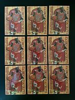 Lot of 9 1995-96 Fleer Flair Michael Jordan Hardwood Leaders #4 HOF Bulls NM-MT