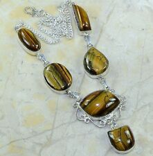 "Golden Tiger's Eye Gemstone 100% Pure 925 Sterling Silver Necklace 19"" #C41638"