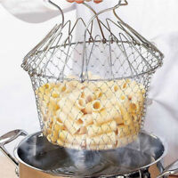 Folding Rinse Stainless Steel Frying Basket Fryer Strainer Cook Kitchen Colander