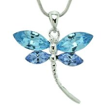 """Dragonfly Made With Swarovski Crystal Blue Sky Color Wings Necklace 18"""" Chain"""