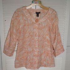 Rafaella 100% Linen 3/4 Sleeve Scoop Neck Button Down Tunic Tan Lt Orange Size M