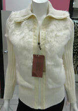 Faux Fur Sweater Size Medium Vegan Fur White Stretch Knit Zipper Front NWT