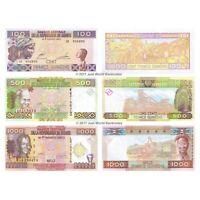 Guinea 100 + 500 + 1,000 Francs Set of 3 Banknotes 3 PCS UNC