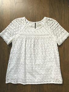 J.CREW White Embroidered Floral Eyelet Short Sleeve Cotton Shirt Top  00 XXS XS