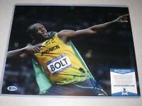 Usain Bolt Jamaica Olympic Gold SIGNED Autograph 11x14 PHOTO Beckett BAS COA 5
