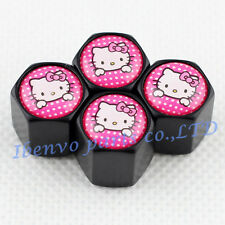 Black Styling Car Metal Wheel Tyre Tire Stem Air Valve Cap For Pink Lovely Kitty