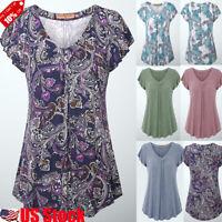 Boho Womens Short Sleeve V neck Swing Tunic Tops Summer Casual Blouse T Shirt US