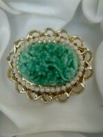Vintage Signed Exquisite Jade Flower Faux Pearl Gold Tone Oval Brooch Pin
