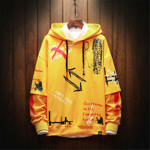 Mens Hip Hop Hoodie Sport Workout Top Hooded Sweater Fashion Coat Sweatshirts