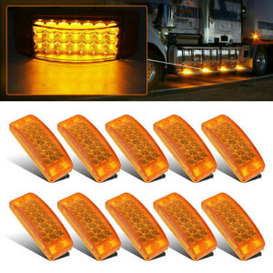 "10x Amber 21LED 6"" Side Marker Clearance Light Rectangle Truck Trailer Camper RV"