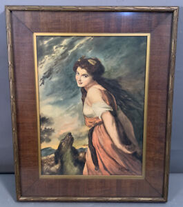 Vintage WATERCOLOR Young LADY & DOG PORTRAIT PAINTING Old CARVED Wood FRAME