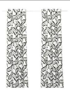 IKEA AVSIKTLIG LEAVES BLACK & WHITE GROMMET (2) UNLINED DRAPERY PANELS 57 X I 98