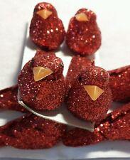 4pcs small red glitter bird embellishments. approx 4cm * UK SELLER *