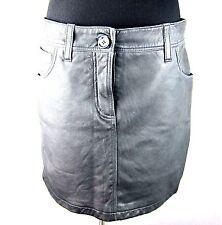 K-BA58170 New Burberry Brit Black Leather Check Skirts Women Lambskin Size US 8