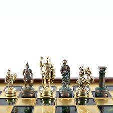 Manopoulos Greek Roman Army Chess Set - Brass&Green - Wooden case Green Board