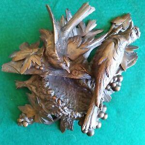 Vintage Antique Black Forest Carved Birds W Nest Wall Plaque Hanger Dish