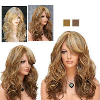 Womens Ladies Ombre Blonde Long Curly Wigs Natural Wavy Hair Cosplay Wig