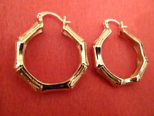 SMALL CUTE CLASSY BAMBOO ENGRAVED GOLD CIRCLE CREOLE HOOP EARRINGS