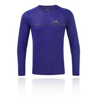 RonHill Mens Everyday Long Sleeve Running Top Purple Sports Breathable