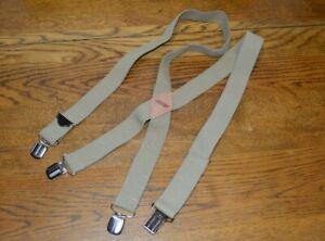 GENUINE DICKIES Men's Suspender Beige One Size Adjustable Elastic Silver Clips