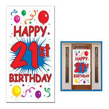"21st BIRTHDAY PARTY DECORATION Door Cover 30"" x 5' INDOOR OUTDOOR USE"