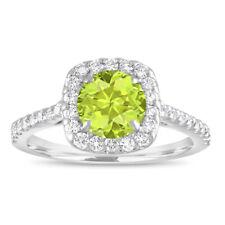 1.57 Carat Peridot Engagement Ring, Cushion Cut Engagement Ring 14K White Gold