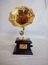 "9"" Showpiece Gramaphone Gramophone Phonograph RCA Victoria Wood Brass Horn"