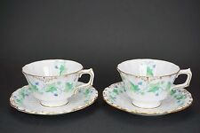 Royal Crown Derby MEDWAY Green Ivy 2 Cups and 2 Saucers