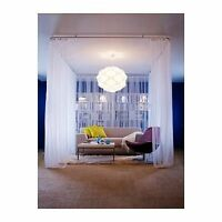 """IKEA LILL Curtains Sheer White 2 Panels 110X98"""" Bed Canopy Room Divider FS NEW"""