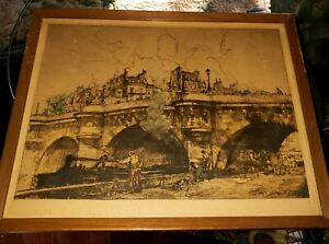 ANTIQUE CA 1890'S FRENCH COLOR LITHOGRAPH SIGNED COUSSENS FRAMED