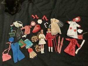 Vtg 70sTopper Dawn Doll and Clone Penneys Lot Clothes Shoes Stands