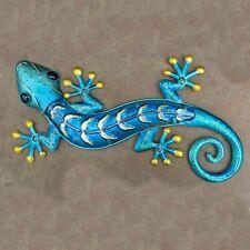 """Large Blue Gold Gecko Metal Wall Art Glass Body Lizard Wall Decor 18"""""""