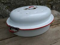 Vintage White and Red Oval Enamel Roasting Tin with Lid